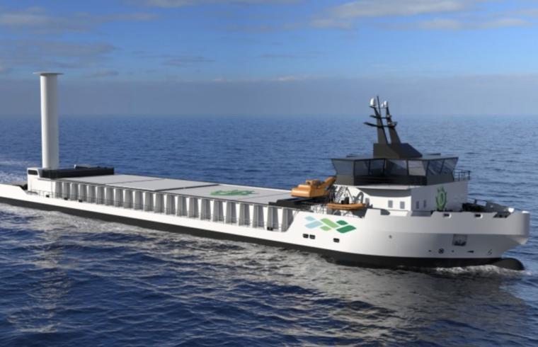 Felleskjøpet Agri SA får 12,3 millioner kroner gjennom Pilot-E til å realisere et nullutslipps-skip for frakt mellom Vestlandet og Østlandet. (Illustrasjon: Vard Engineering)