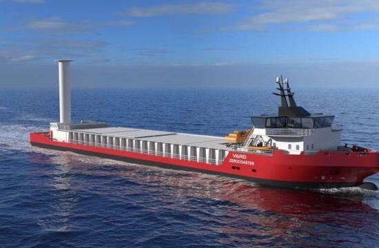 Vard Zerocoaster. Konsept for et bulkskip uten utslipp og med Flettner-rotor som utnytter vind til framdrift og elektrisk selvlossemaskin på traversplattform.